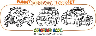 voiture, ou, buggy, set., coloration, rigolote, outroader, ...
