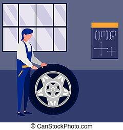voiture, ouvrier, mécanicien, pneu