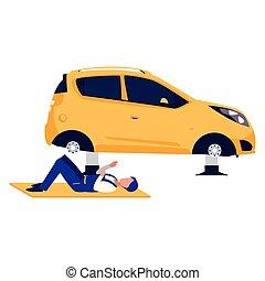 voiture, ouvrier, mécanicien, véhicule