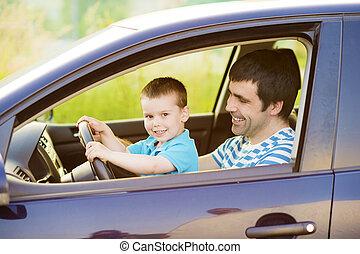 voiture, père, conduite, fils