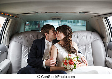 voiture, palefrenier, mariée