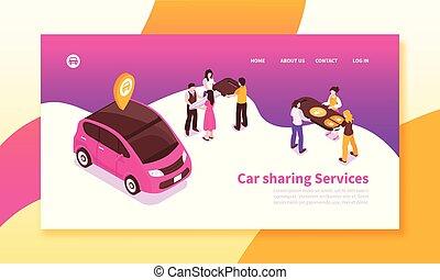 voiture, partage, bannière, horizontal