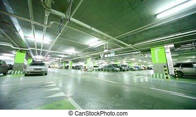 voiture, passes, stationnement, approche, intérieur, garage