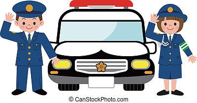 voiture, patrouille, enfants