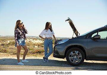 voiture, pays, filles, route, cassé