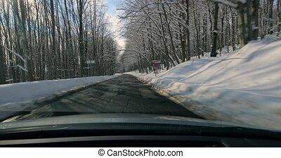 voiture, paysage, conduite, neigeux