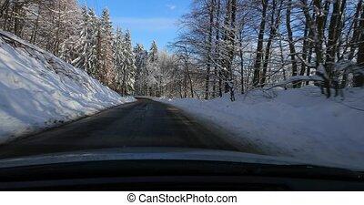 voiture, paysage, neigeux, conduite