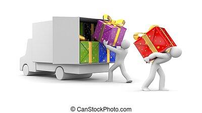 voiture, personne, 3d, cadeau, décharger