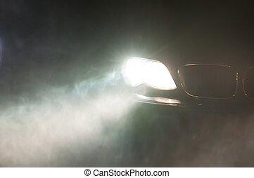voiture, phares, de, a, voiture