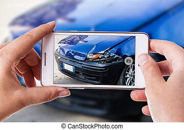 voiture, photographie, accident, téléphone