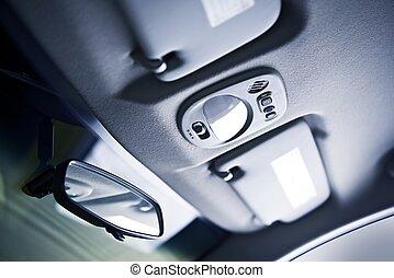 voiture, plafond, closeup