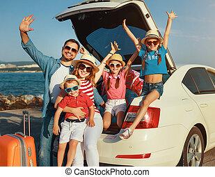 voiture, plage, heureux, voyage, été, voyage, famille, grand...