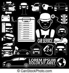 voiture, plat, mécanicien, icônes