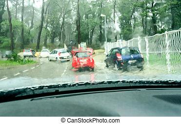 voiture, pluvieux, vue, jour, verre