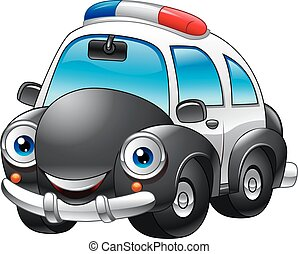 voiture, police, dessin animé, caractère