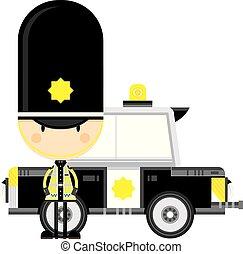 voiture, police, dessin animé, policier