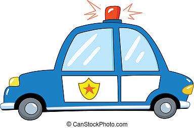voiture, police, dessin animé