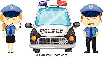 voiture, police, deux, officiers