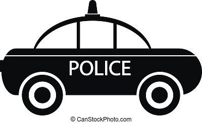 voiture, police, icône