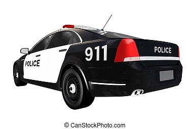 voiture, police, isolé, vue postérieure