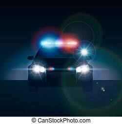 voiture, police, nuit