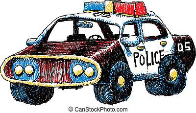 voiture, police, retro
