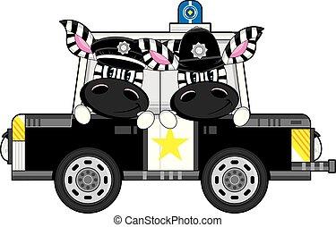 voiture, policiers, police, zebra, dessin animé
