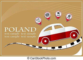 voiture, pologne, fait, drapeau, icône