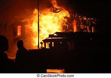 voiture, pompiers, brûler
