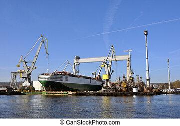 voiture, porteur, docks