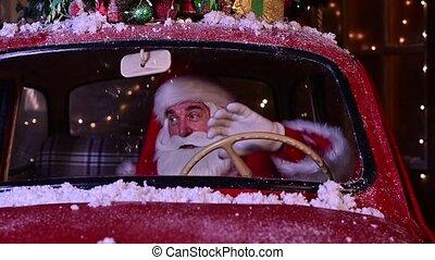 voiture, portrait, claus, dons, conduite, rouges, livrer, noël, santa