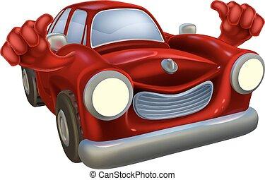 voiture, pouces haut, dessin animé