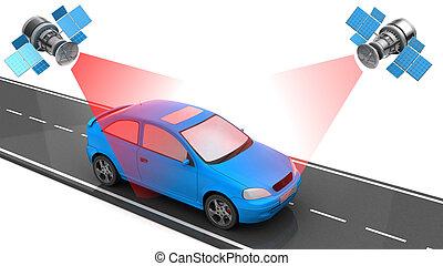 voiture, poursuite, emplacement