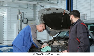 voiture, problème, troubleshoots, mécanicien, service