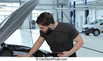 voiture, problèmes, mécanicien, tablette, disques
