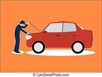 voiture, réparateur, woking, mécanicien, garage