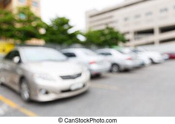 voiture, résumé, brouillé, lot, stationnement