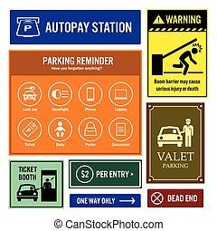 voiture, rappel, parc, information