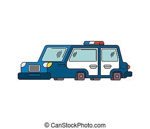 voiture reconnaissance, illustration, dessin animé, vecteur, police, style.