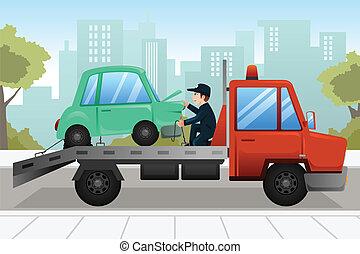 voiture, remorquage, bas, cassé, camion, remorquage