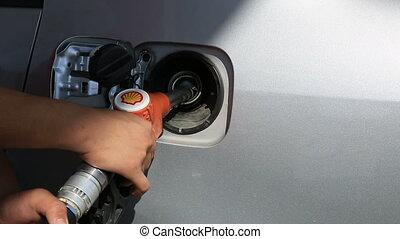 voiture, remplissage, carburant