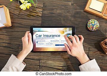 voiture, remplissage, personne affaires, assurance, formulaire