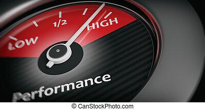 voiture, rendre, indicateur, élevé, performance, 3d