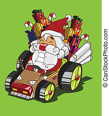 voiture, renne, claus, conduit, santa