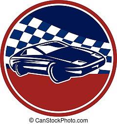 voiture, retro, courses, sports, cercle, drapeau chequered