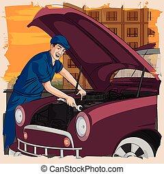voiture, retro, garage, réparation, homme