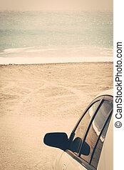 voiture, retro, mer, vendange, plage, voyage, route