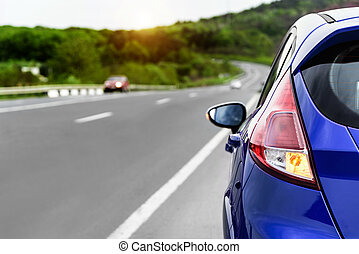 voiture, roadside., garé