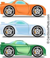 voiture, roues, course, dessin animé, grand