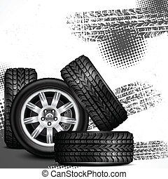voiture, roues, et, pneu traque